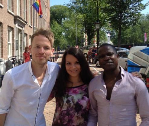 Met Anastasia Smirnova en Samuel Sam tijdens een COC-meeting '13.