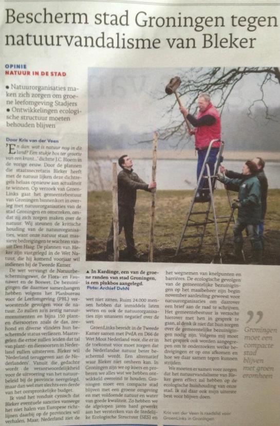 Opiniestuk in Dagblad van het Noorden